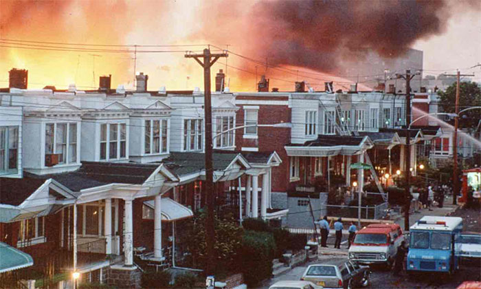 MOVE family home after FBI/police bombing on May 13, 1985