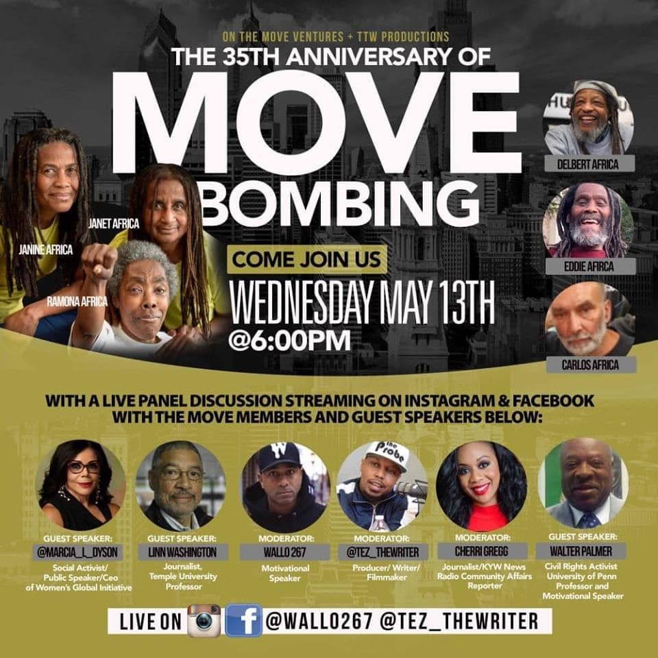 Program with MOVE members and Philadelphia guest speakers.