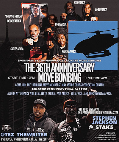 Flyer for May 15, 2021 event commemorating the 36th Anniversary MOVE Bombing
