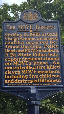 Pennsylvania State Historic Marker near site of deadly 1985 bombing by Philadelphia police and FBI