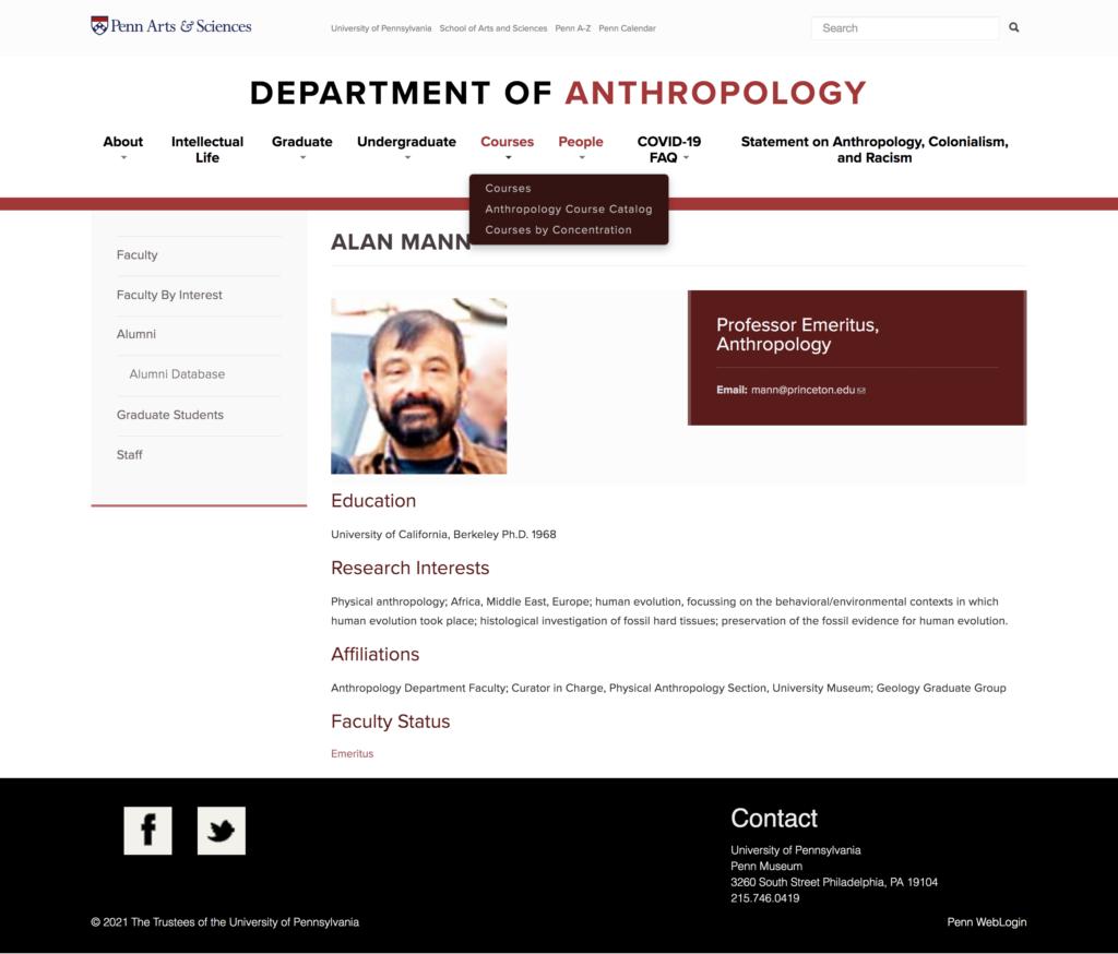 Dr. Alan Mann, Dept. of Anthropology, University of Pennsylvania