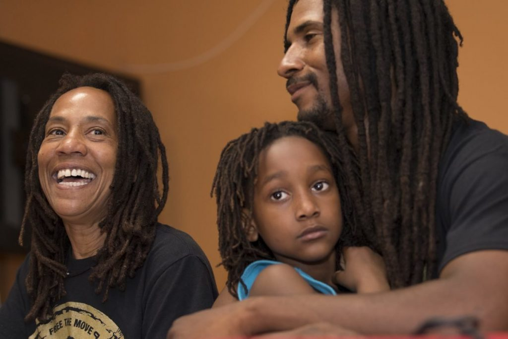 Debbie, Alia (granddaughter) and Mike Jr (son) Africa