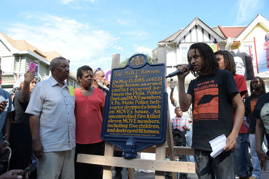 Unveiling of MOVE historical marker with MOVE youth speaking