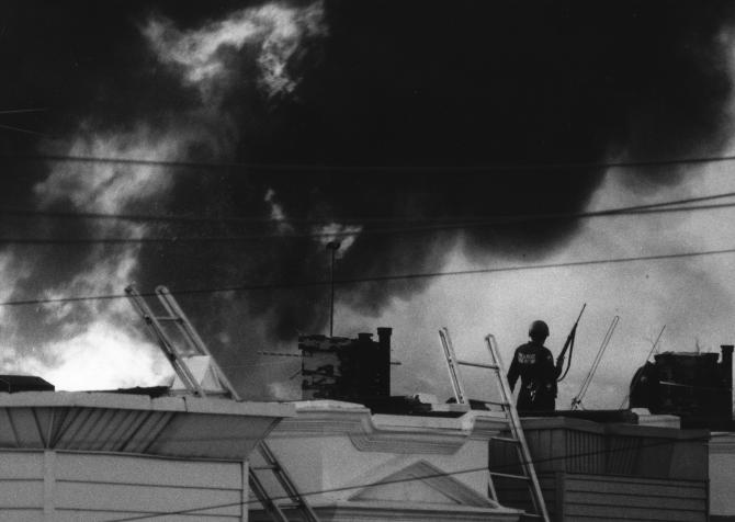 On May 13, 1985, a fire started after Philadelphia police dropped an explosive on a building where members of the MOVE organization where hiding.