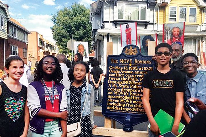 Jubilee School youth unveiling MOVE historical marker